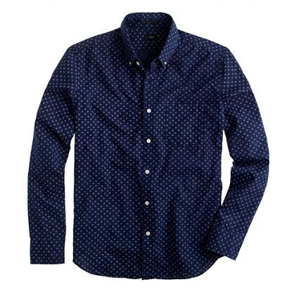 Slim cotton shirt in mini-floral