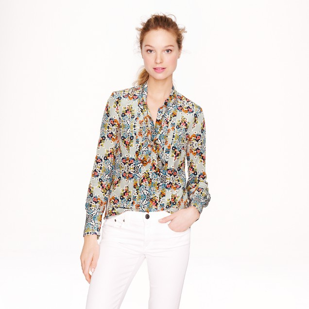 Collection secretary blouse in misty fog floral