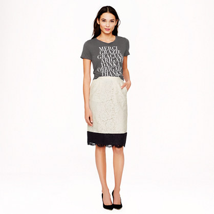 Petite Collection colorblock lace pencil skirt