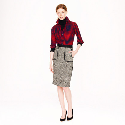 Petite Collection shimmer tweed pencil skirt