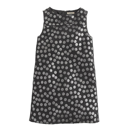 Girls' shift dress in metallic jacquard dot