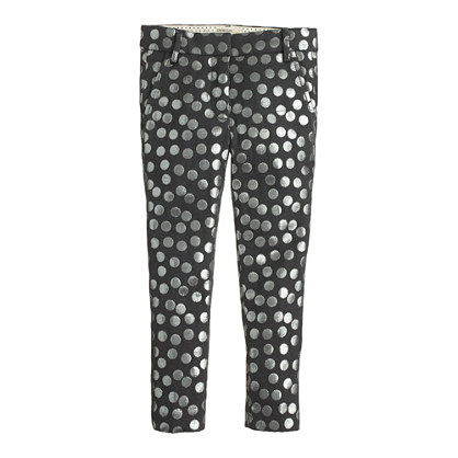 Girls' café capri in metallic jacquard dot