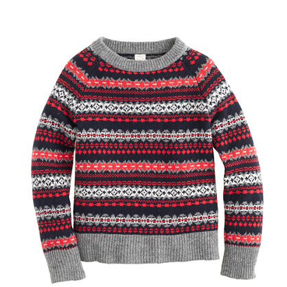 Boys' lambswool Fair Isle sweater in red