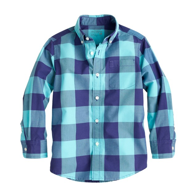 Boys' Secret Wash shirt in giant gingham