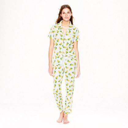 End-on-end short-sleeve pajama set in mini-botanical print