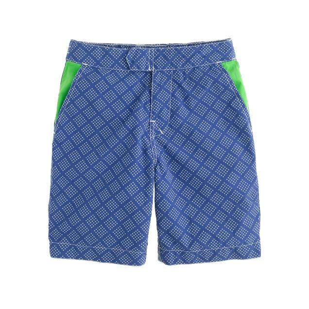 Boys' tab swim short in bandana dot