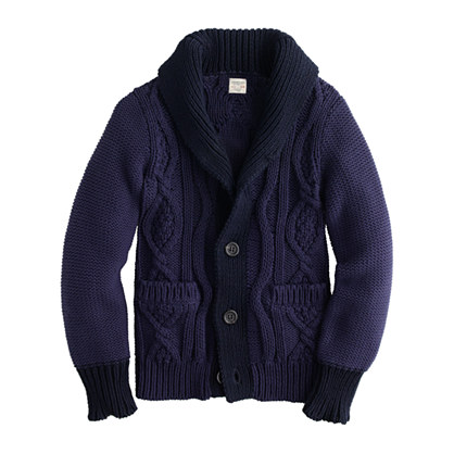 Boys' cable contrast shawl-collar cardigan
