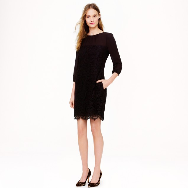 Shirred lace dress