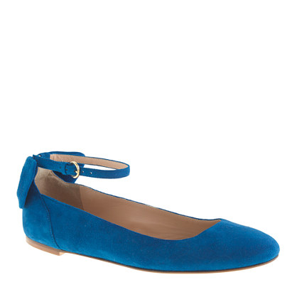 Suede ankle-strap ballet flats