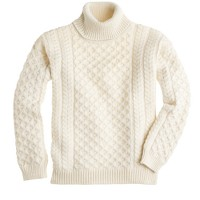 Aran Crafts™ cabled turtleneck sweater