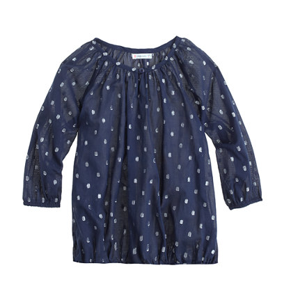 Girls' peasant top in metallic dot