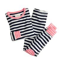Girls' stripe contrast-cuff sleep set