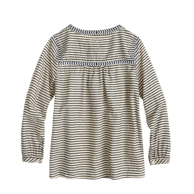 Girls' embroidered peasant top in stripe