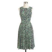 Pleated silk dress in daisies