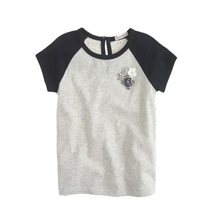 Girls' jeweled short-sleeve baseball T-shirt