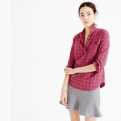 Tall red tartan popover shirt