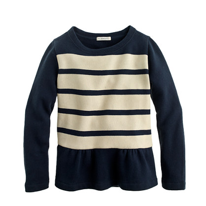 Girls' stripe peplum sweatshirt