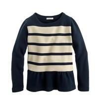 Girls' stripe peplum sweatshirt