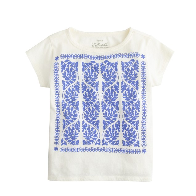 Girls' embroidered print tee