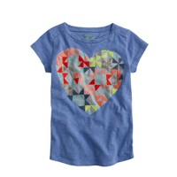 Girls' embroidered heart tee