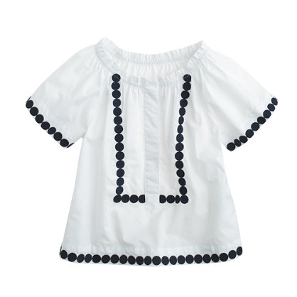 Girls' peasant top in navy dot