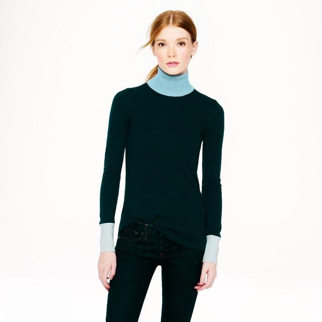 Collection cashmere colorblock turtleneck