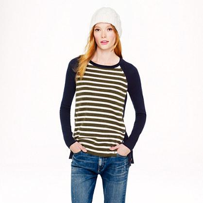 Side-button sweater in stripe