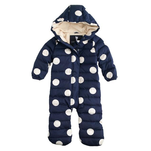 Baby puffer snowsuit in polka dot