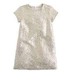 Girls' silk sequin shift dress