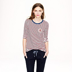 Stripe painter tee with jeweled brooch