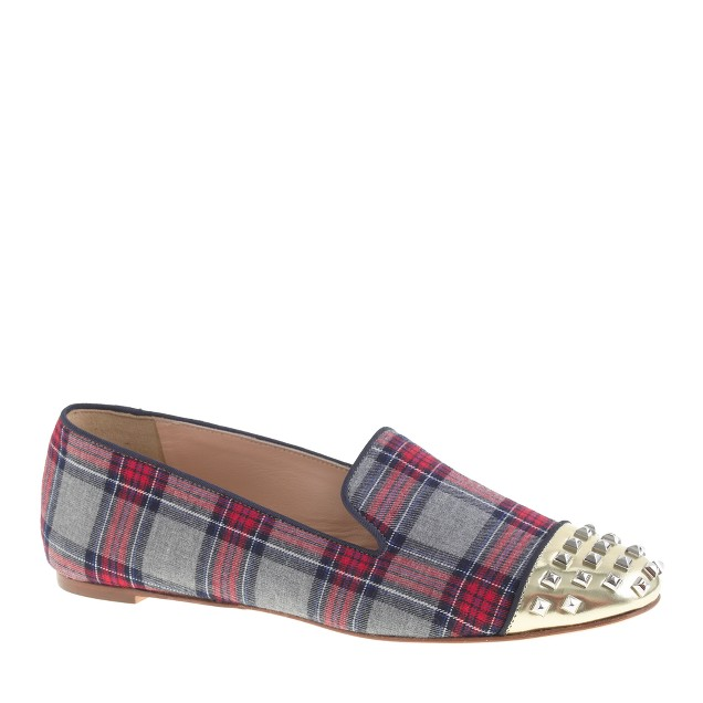 Darby plaid studded-toe loafers