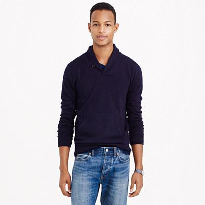 Rugged cotton shawl-collar sweater