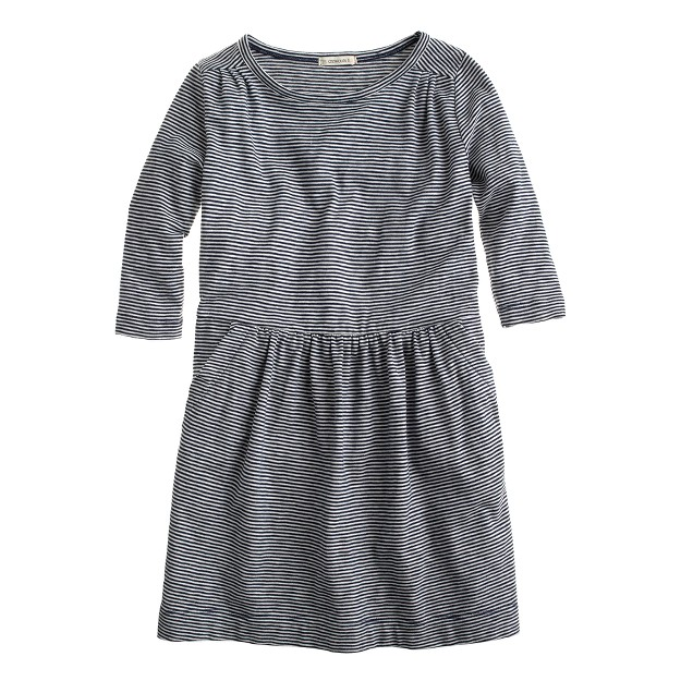 Girls' stripe knit shirred dress