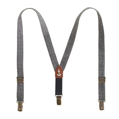 Boys' anchor suspenders in chambray