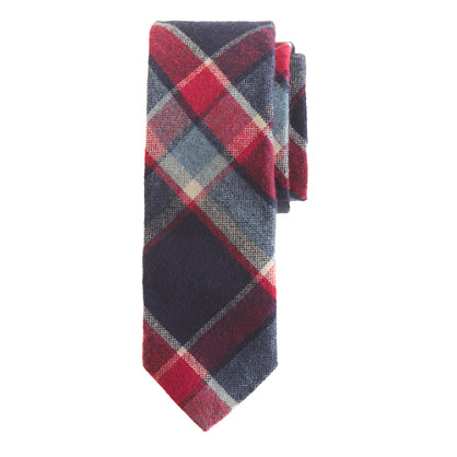 Cotton-wool tie in navy twilight plaid
