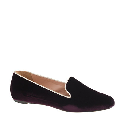 Darby velvet metallic-trim loafers