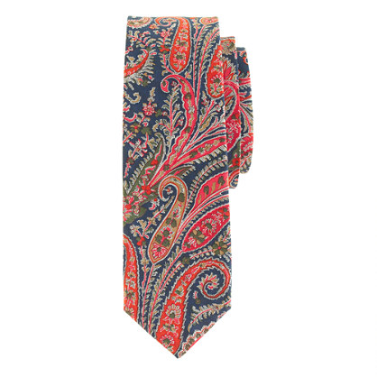 Liberty tie in overcast blue floral