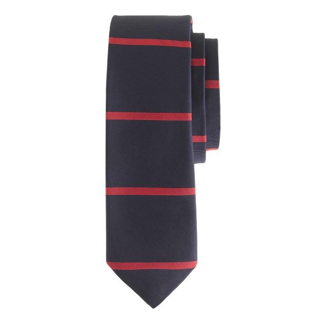 English silk tie in horizontal stripe