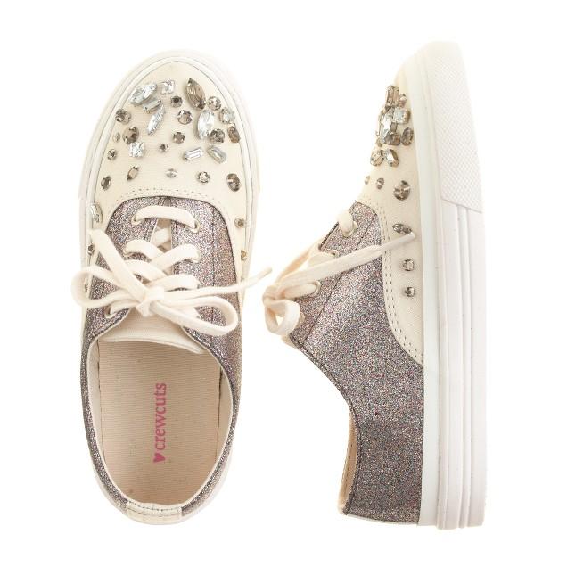 Girls' crystal-embellished glitter sneakers