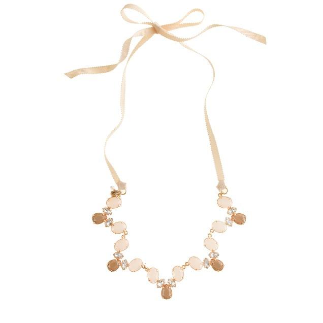 Girls' scalloped gem necklace