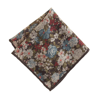Italian wool pocket square in yorkshire brown floral