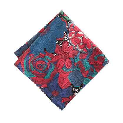 Liberty English cotton pocket square in rhone red print