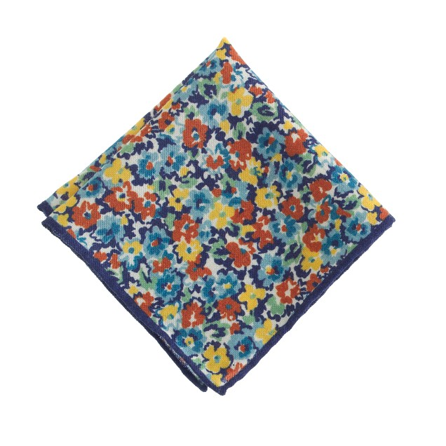 Italian wool pocket square in multicolor floral