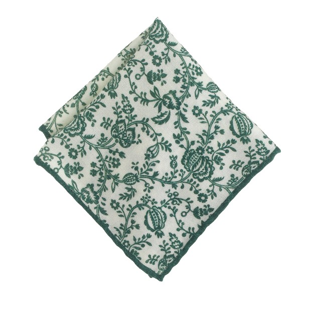 Italian wool pocket square in vine print