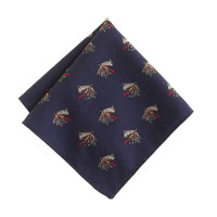 Italian wool pocket square in fly-lure print