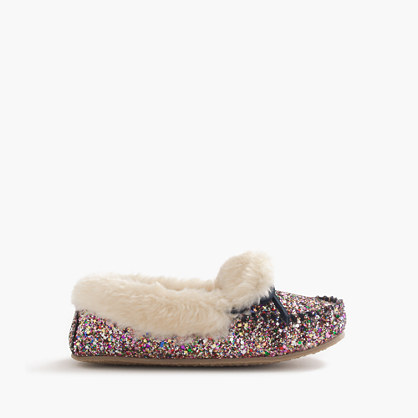 Girls 39 glitter shearling lodge moccasins slippers j crew for J crew bedroom slippers