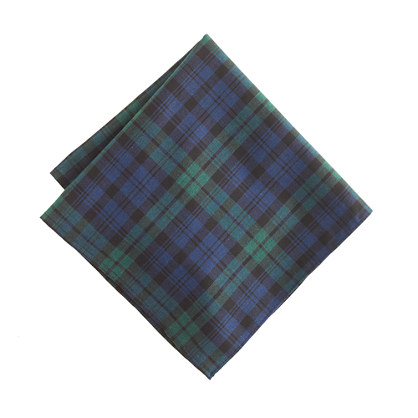 Cotton pocket square in bright nightfall plaid