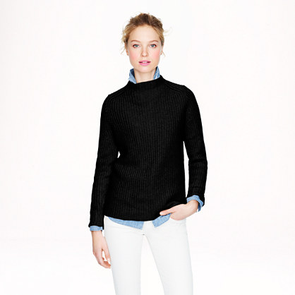 Collection cashmere ribbed back-zip sweater