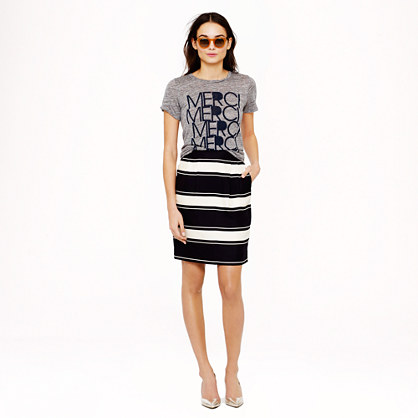 Bold-stripe silk pencil skirt
