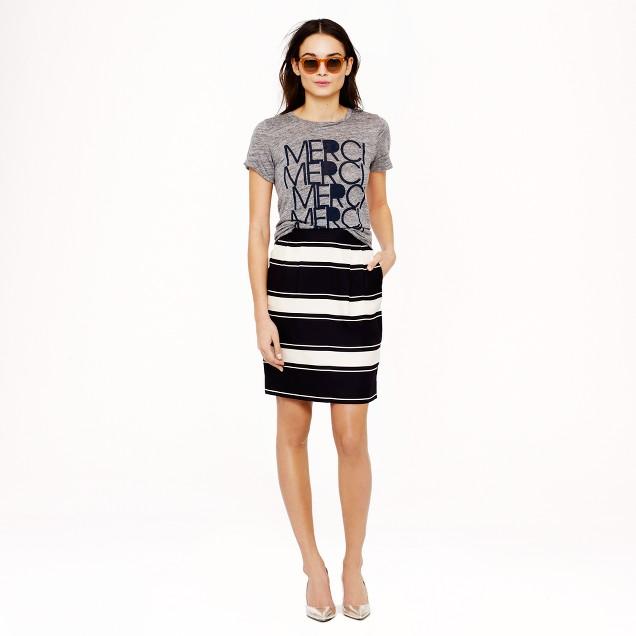 Bold-stripe silk pencil skirt